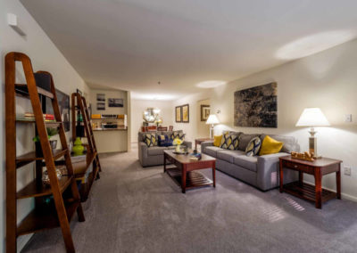 Spacious furnished living room at Pointe North apartments in Bethlehem, PA